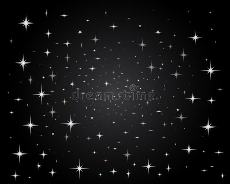 ljusa sparkling stjärnor för nattsky vektor illustrationer