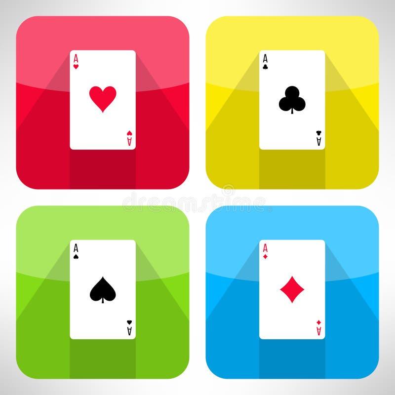 Ljusa spela kort gör ett ess på symboler ställde in i modern lägenhet royaltyfri illustrationer