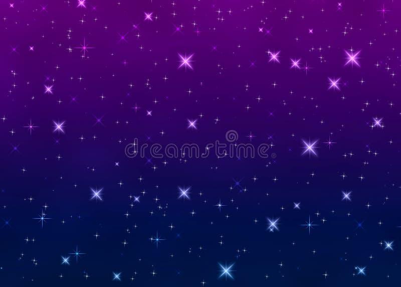 Ljusa stjärnor i natthimmel royaltyfri illustrationer