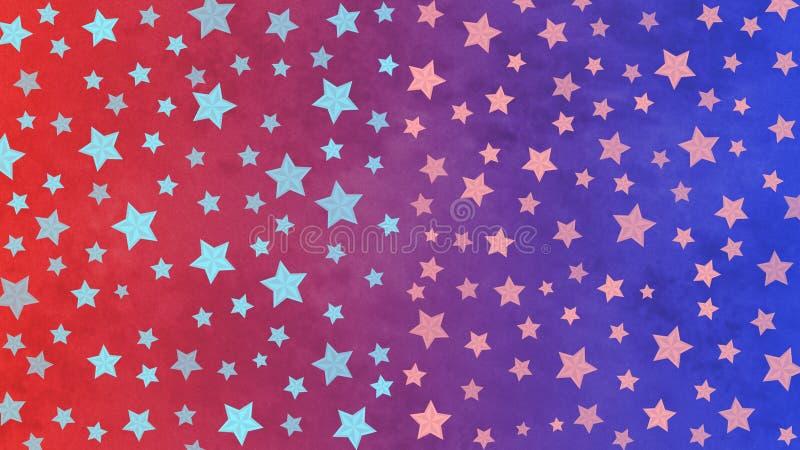 Ljusa stjärnor mönstrar i blå och röd Grungebakgrund vektor illustrationer