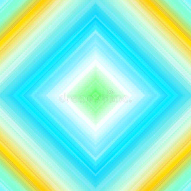 Ljusa strålar, abstrakt geometrisk färgrik bakgrund, turkosblått och guling stock illustrationer