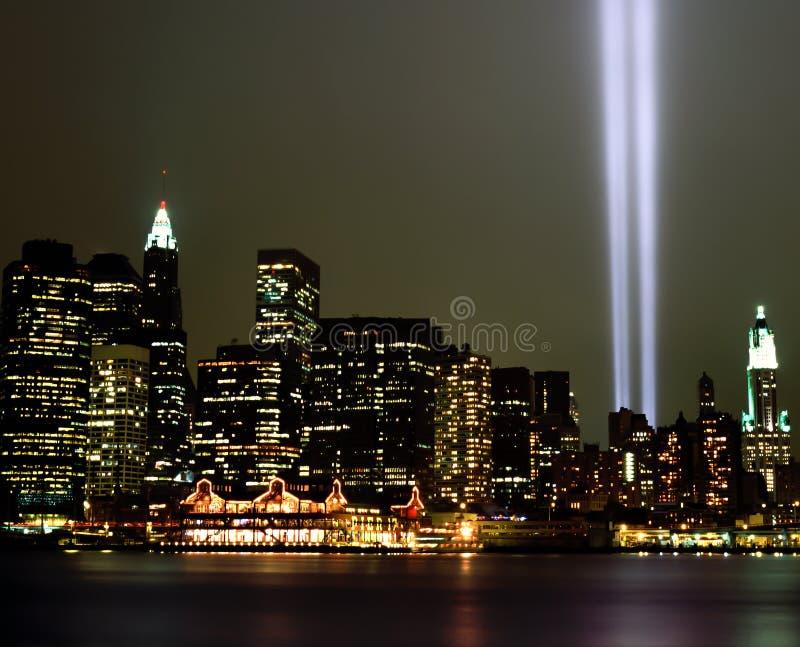 Ljusa strålar för World Trade Center 9-11 royaltyfri bild