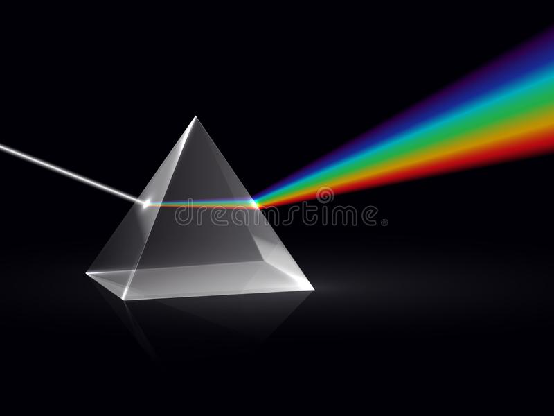 Ljusa strålar i prisma Effekt för spridning för Ray regnbågespektrum optisk i exponeringsglasprisma Bildande fysikvektor stock illustrationer