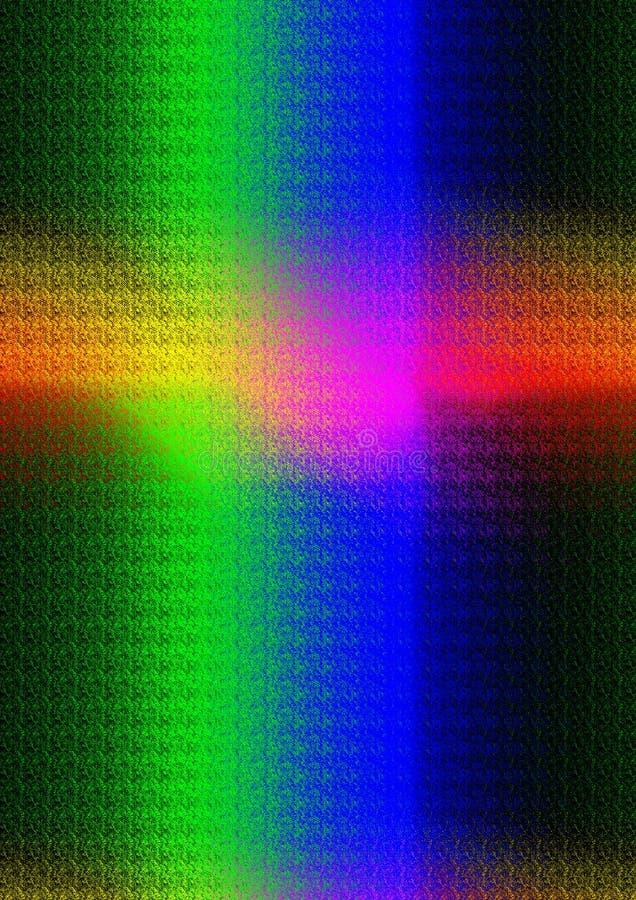 Ljusa strålar i spektral- färger som bildar ett kors royaltyfri bild