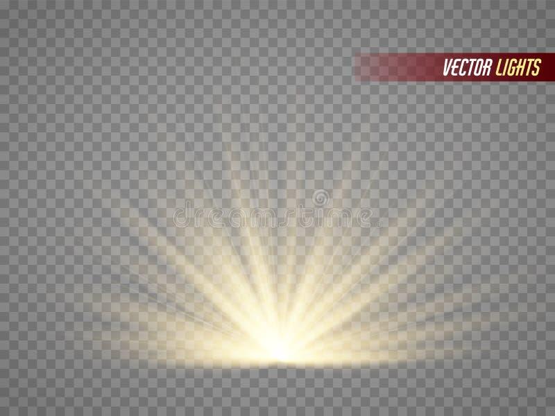 ljusa strålar varm ljus effekt Solstrålar som isoleras på genomskinlig bakgrund stock illustrationer