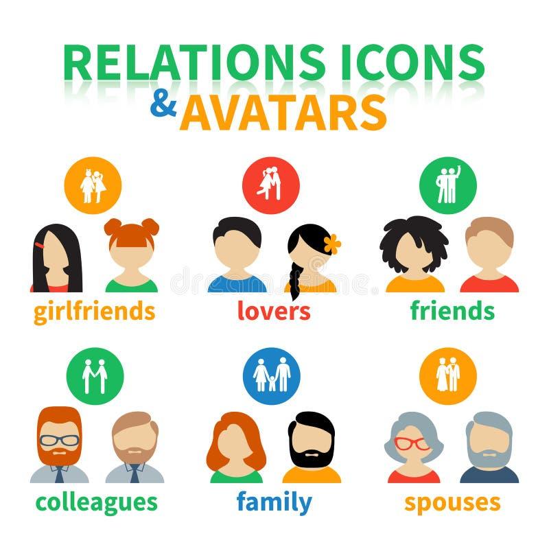 Ljusa symboler och social förbindelse för avatars stock illustrationer