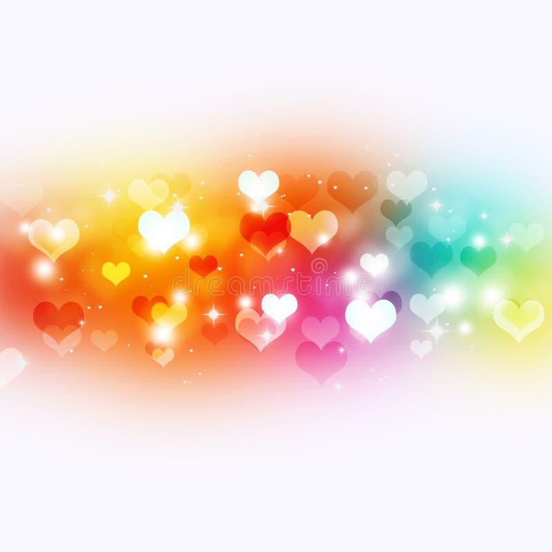 Ljusa Valentine Multicolor Background royaltyfri illustrationer