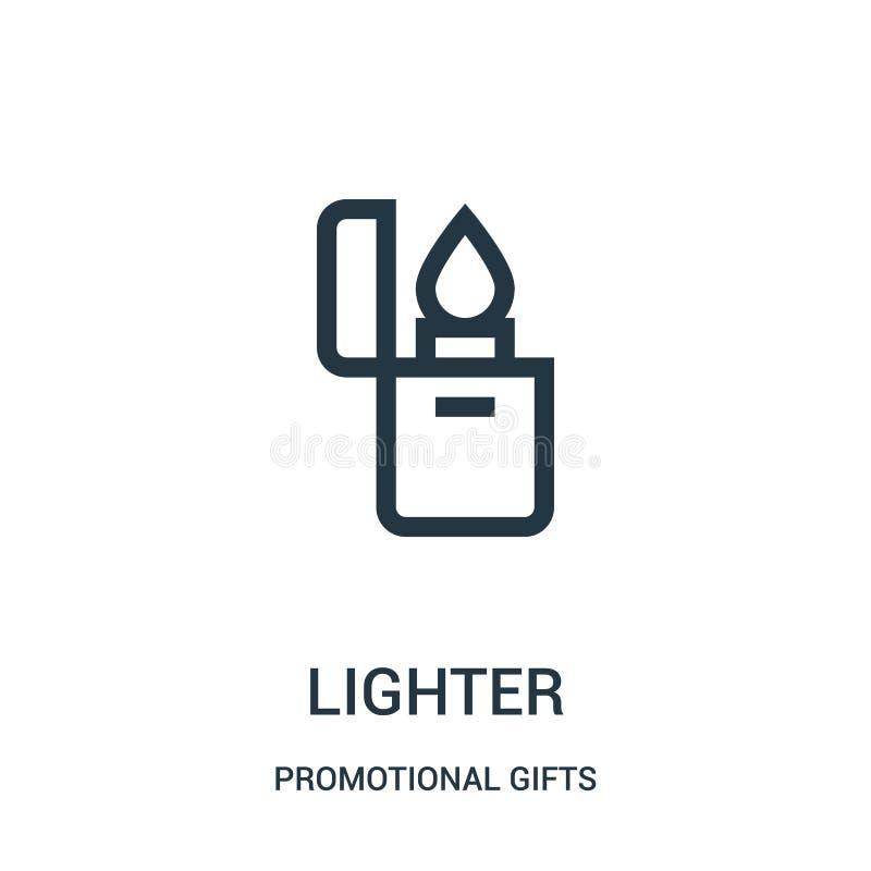 ljusare symbolsvektor från befordrings- gåvasamling Tunn linje ljusare illustration för översiktssymbolsvektor Linjärt symbol för stock illustrationer
