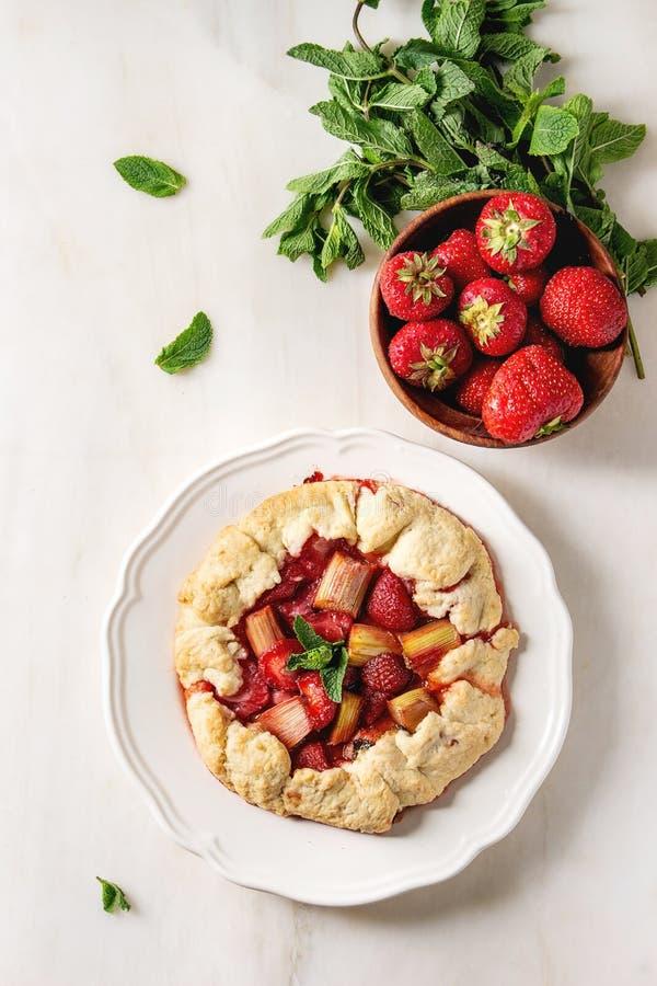 Ljusbrun paj för jordgubbe och för rabarber arkivbilder