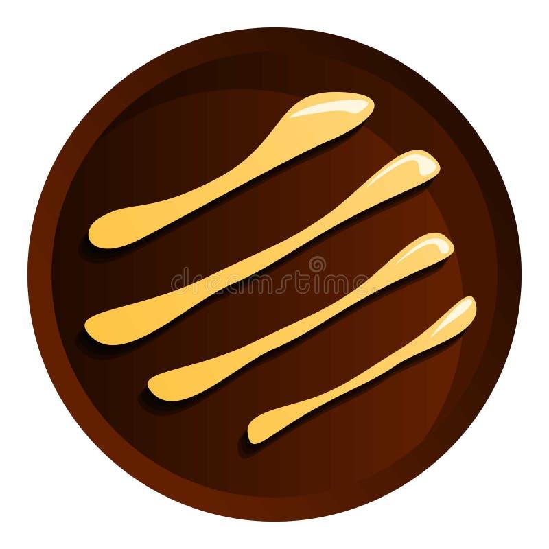 Ljusbrun symbol för rund choklad, tecknad filmstil royaltyfri illustrationer