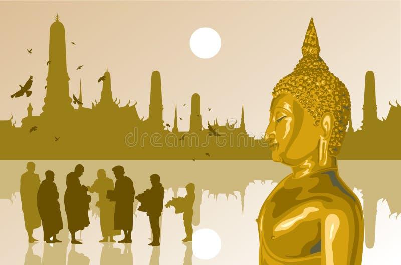 Ljuset av buddha på tempelbakgrund vektor illustrationer
