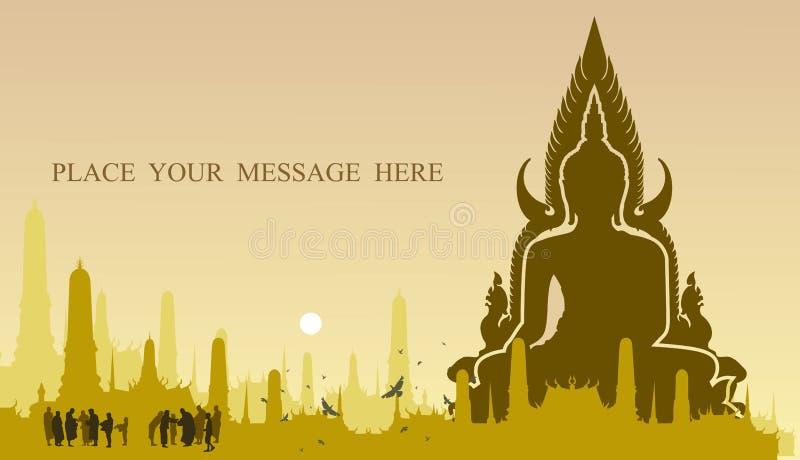 Ljuset av buddha på tempelbakgrund royaltyfri illustrationer