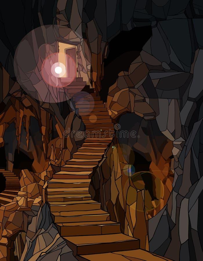 Ljuset belyser en lång sten i trappan som sjunker ned i en grotta vektor illustrationer