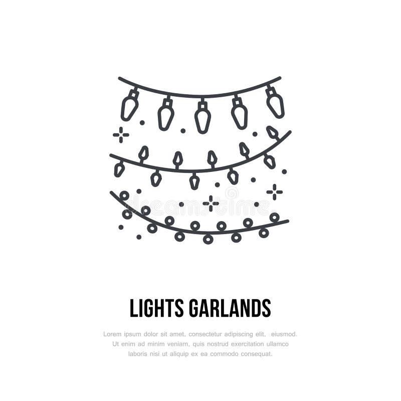 Ljusgirlandlinje symbol Vektorlogo för händelseservice Linjär illustration av garnering för nytt år eller födelsedag stock illustrationer
