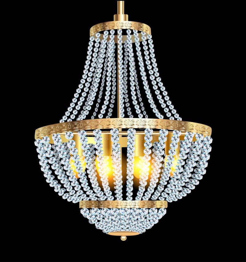 Ljuskrona med crystal hängear stock illustrationer