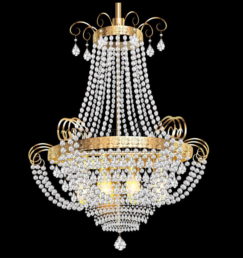 Ljuskrona med crystal hängear på svarten vektor illustrationer