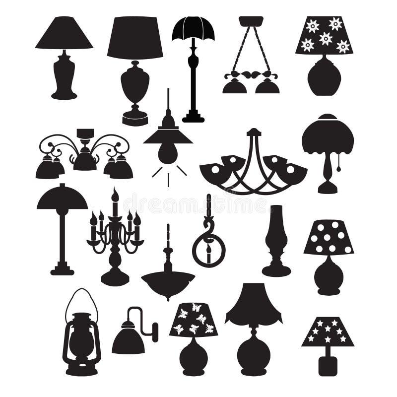 Ljuskrona- och lampkontur - illustration stock illustrationer