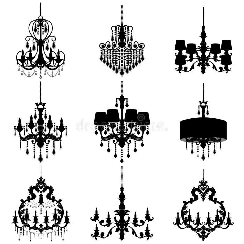 Ljuskronakontur som isoleras på vit bakgrund stock illustrationer
