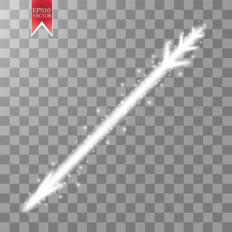 Ljuspilen med damm blänker genomskinlig bakgrund royaltyfri illustrationer