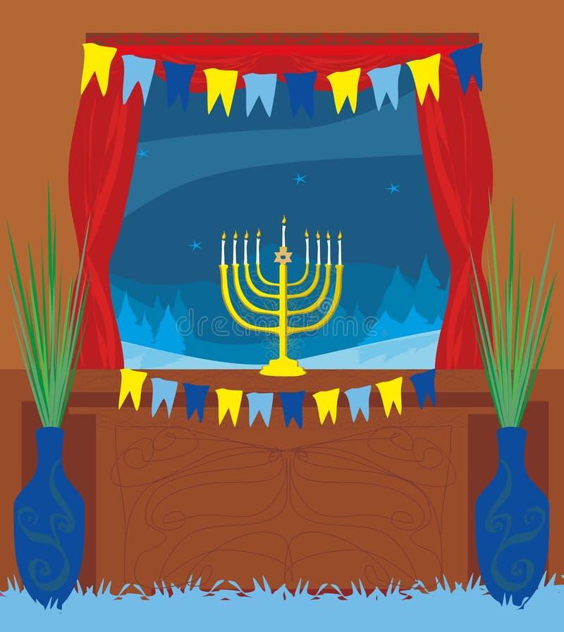 Ljusstake i fönstret - hanukkah stock illustrationer