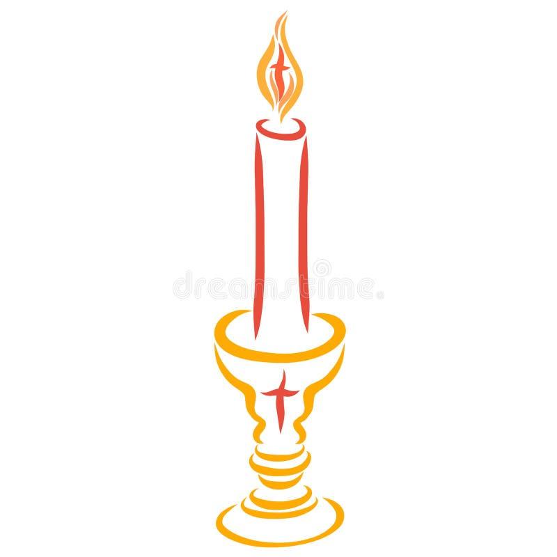 Ljusstake med bilden av korset och en brinnande stearinljusintelligens stock illustrationer