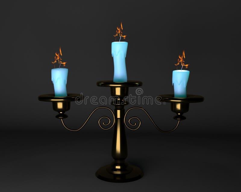 Ljusstake med tre stearinljus på en grå bakgrund vektor illustrationer