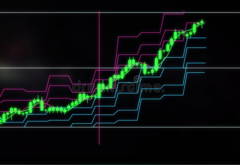 Ljusstakediagram av materielet eller valutapristillväxt Investeringar i företag och cryptocurrencies stock illustrationer