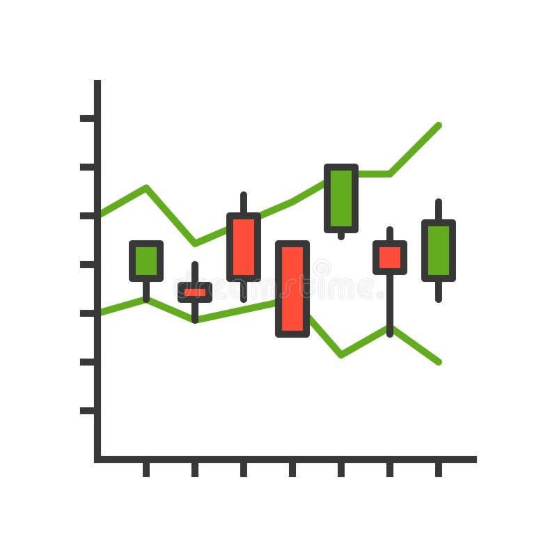 Ljusstakediagram, datarapport eller aktiemarknadsymbolsbegrepp, edi royaltyfri illustrationer