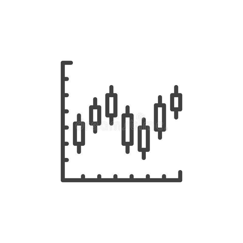Ljusstakediagramlinje symbol, översiktsvektortecken, linjär stilpictogram som isoleras på vit vektor illustrationer