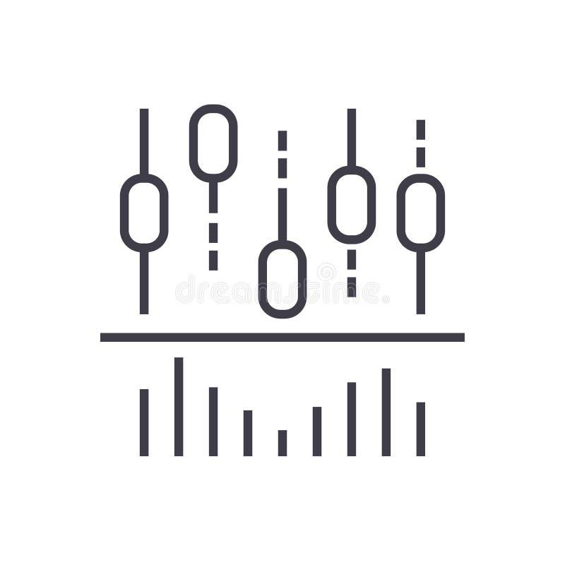 Ljusstakediagrammet och linjer vektor fodrar symbolen, tecknet, illustration på bakgrund, redigerbara slaglängder stock illustrationer