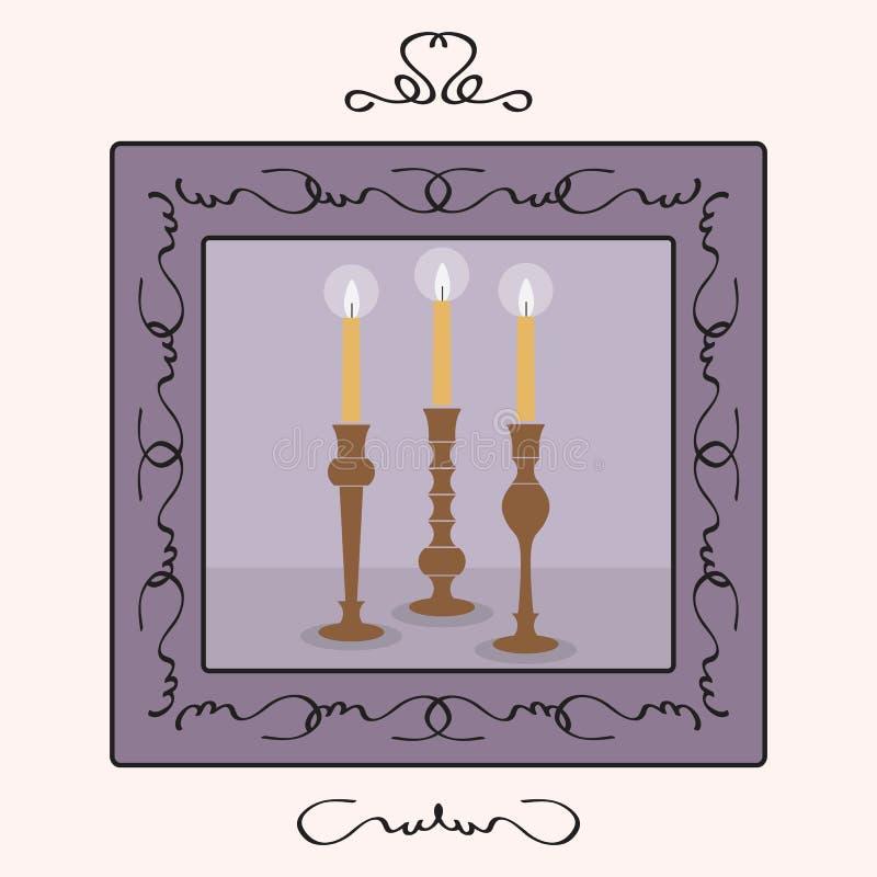 Ljusstakehållare ställde in med tända upp stearinljus inom en ram royaltyfri illustrationer