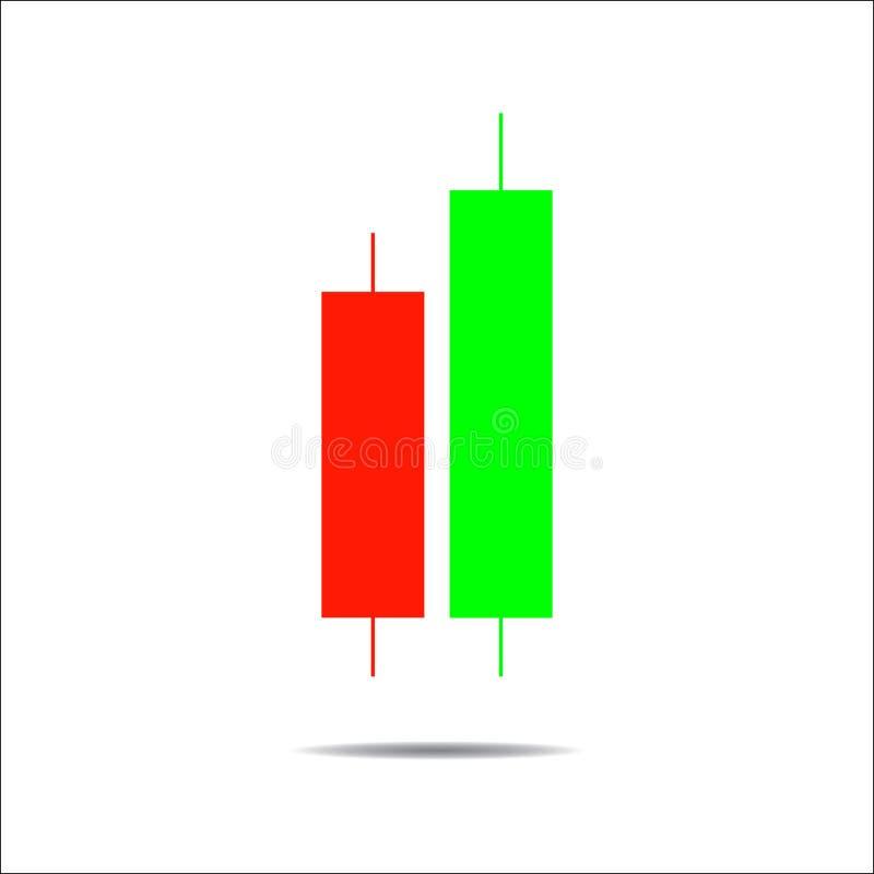 Ljusstakehandeldiagram som analyserar handeln i det utländskt royaltyfri illustrationer