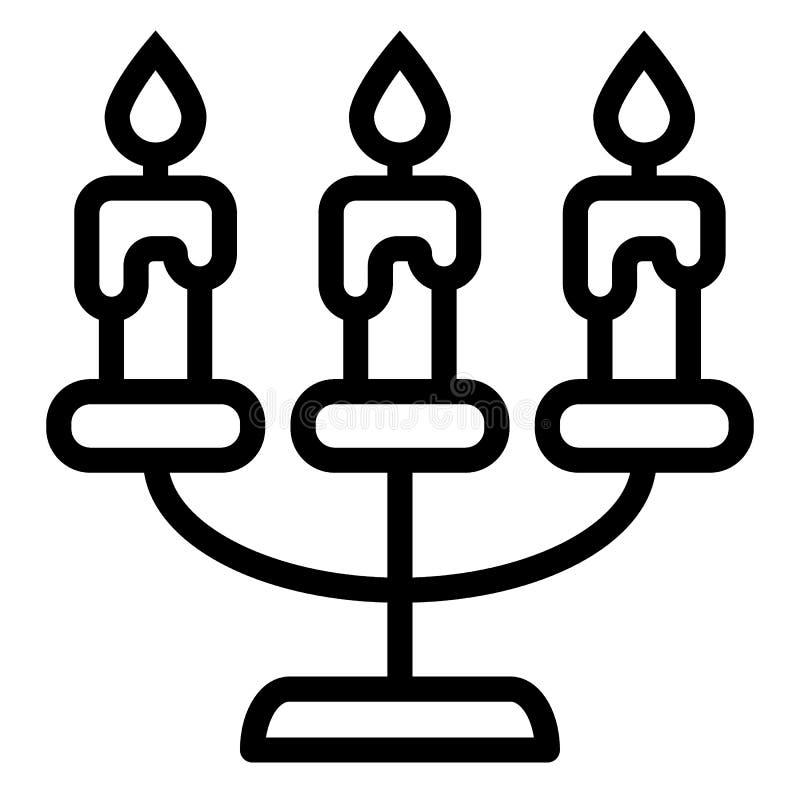 Ljusstakelinje symbol Kandelabervektorillustration som isoleras på vit Stearinljus översiktsstildesign som planläggs för rengörin stock illustrationer