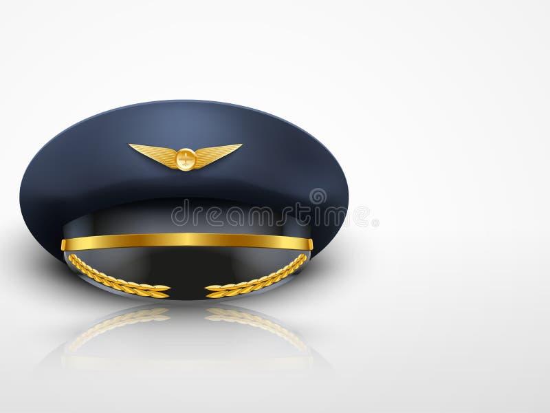 Ljust bakgrundsflygarePeaked lock av piloten stock illustrationer