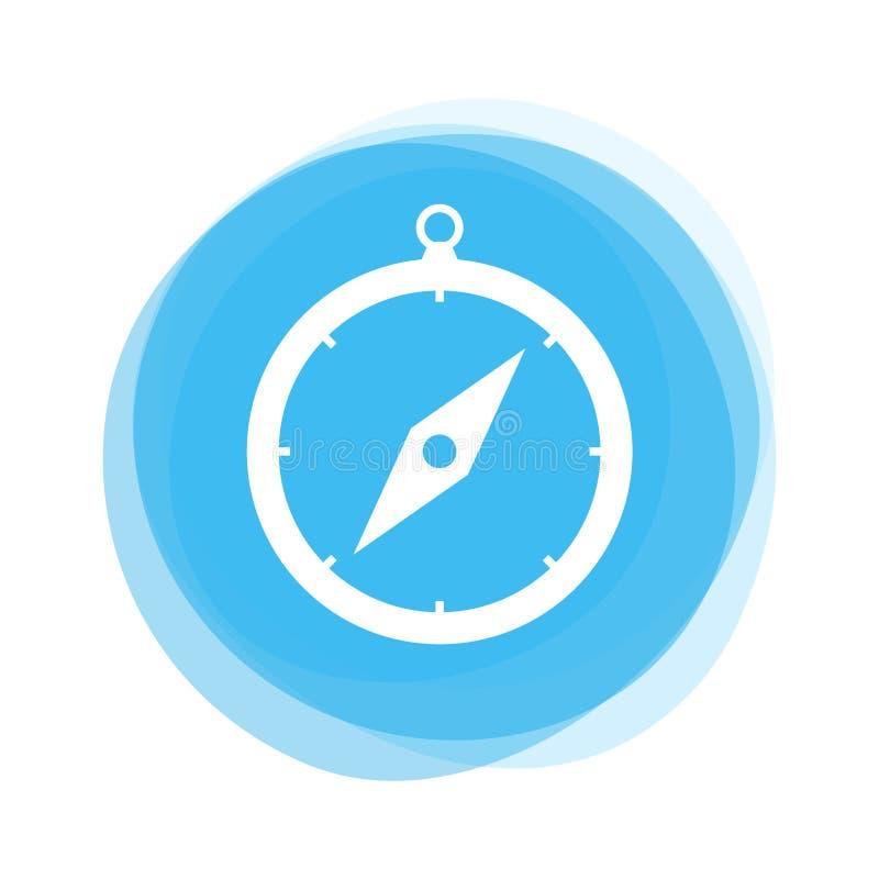 Ljust - blå knapp: Kompass stock illustrationer