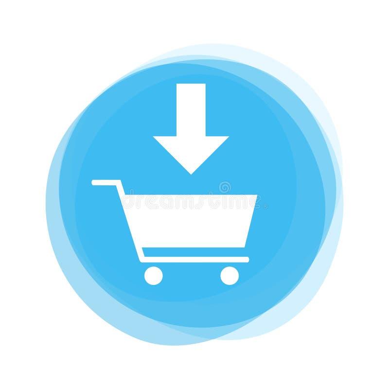 Ljust - blå knapp: Tillfoga till vagnen stock illustrationer