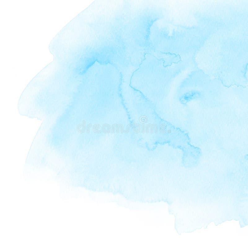 Ljust - blå textur för målarfärg för vattenfärgabstrakt begrepphand med fläckar och fläckar på vitbok Illustrationbakgrund för de royaltyfria foton