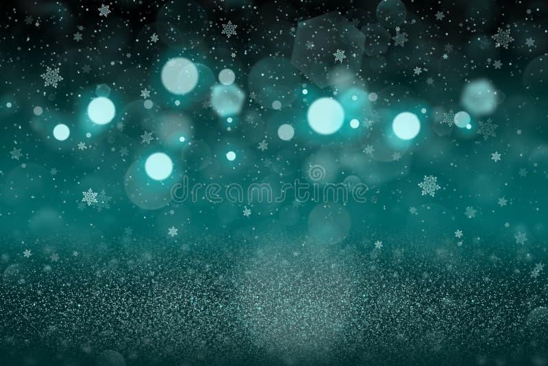 Ljust - bl?a n?tta ljusa bl?nker defocused bokeh f?r ljus som abstrakt bakgrund med fallande sn?flingor flyger, festivalmodelltex stock illustrationer