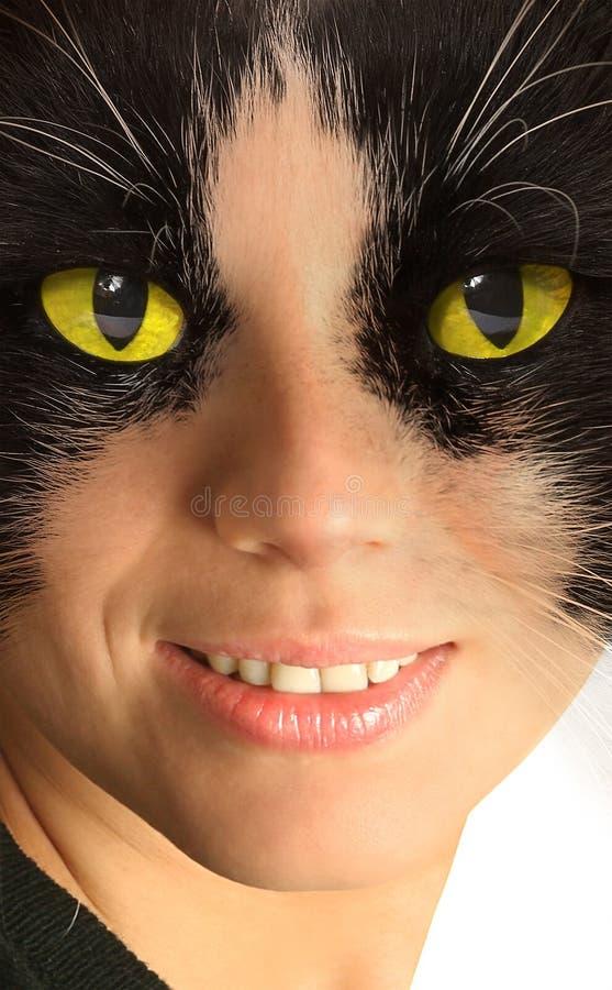 ljust catwoman ögonyellow fotografering för bildbyråer