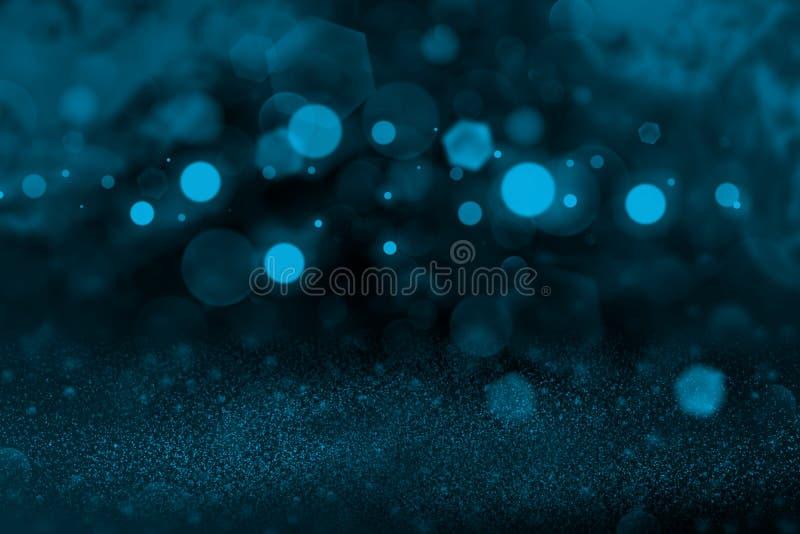 Ljust - den blåa härliga brusanden blänker bakgrund för defocused bokeh för ljus abstrakt, celebratory modelltextur med tomt utry arkivfoto
