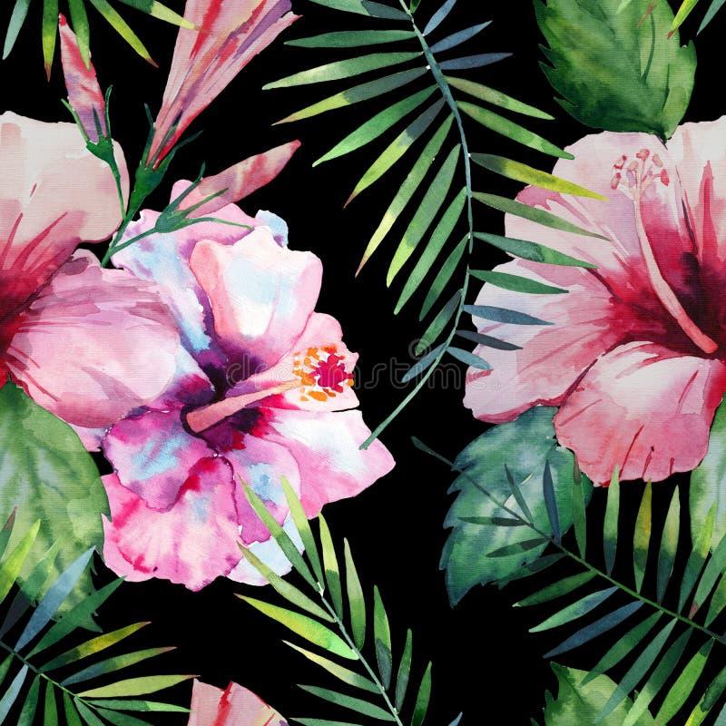 Ljust - den gröna växt- tropiska hawaii blom- sommarmodellen av palmblad för en vändkrets och rosa röda violetblått för vändkrets royaltyfri illustrationer