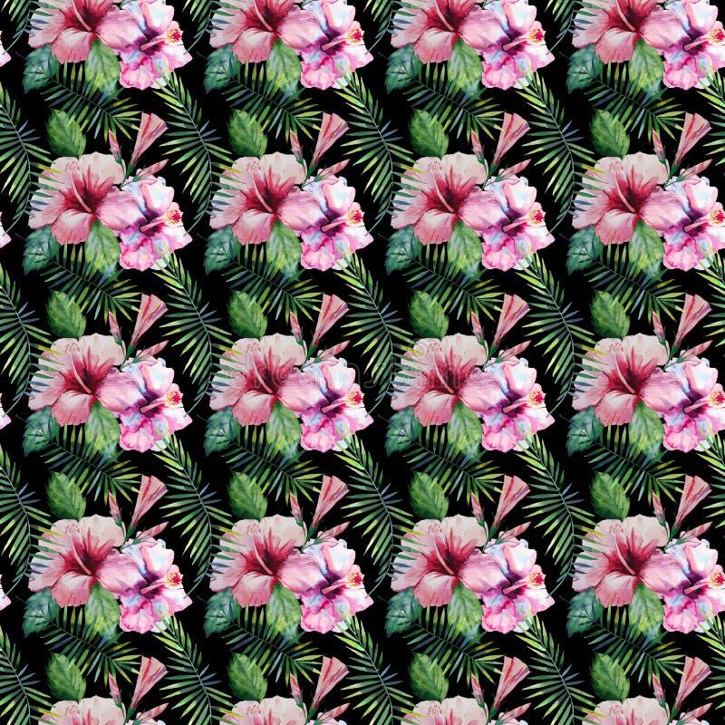Ljust - den gröna växt- tropiska hawaii blom- sommarmodellen av palmblad för en vändkrets och rosa röda violetblått för vändkrets vektor illustrationer
