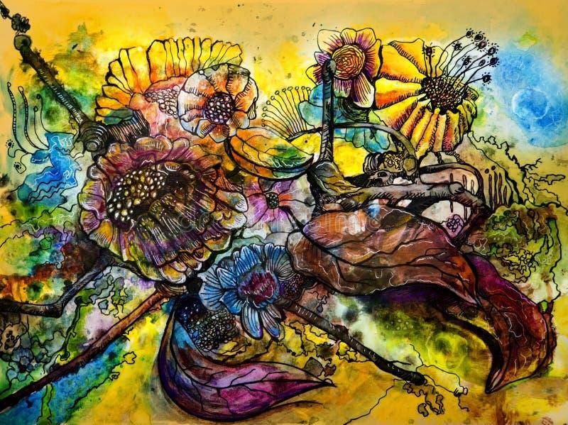 Ljust färgade lösa blommor i abstrakt begrepp för vattenfärg stock illustrationer