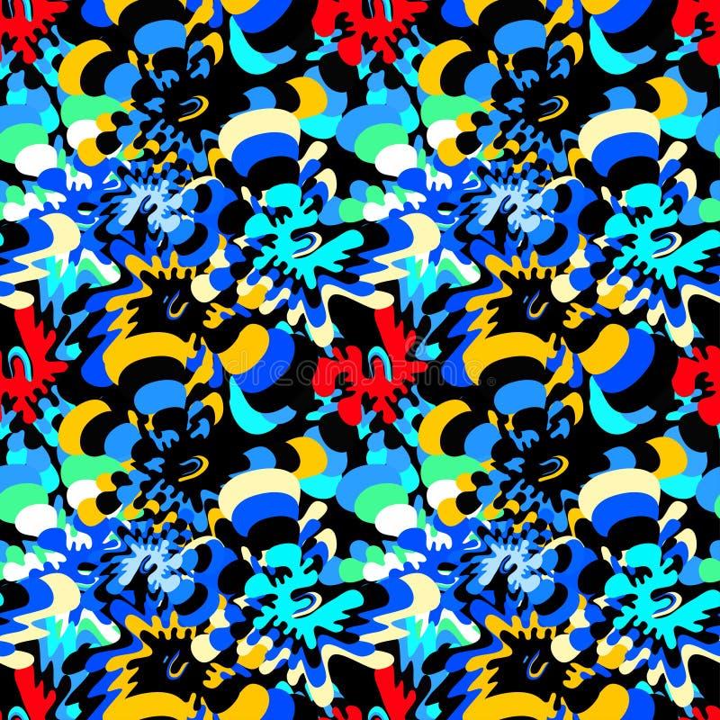 Ljust färgat abstrakt begrepp blommar på en sömlös modell för svart bakgrund royaltyfri illustrationer