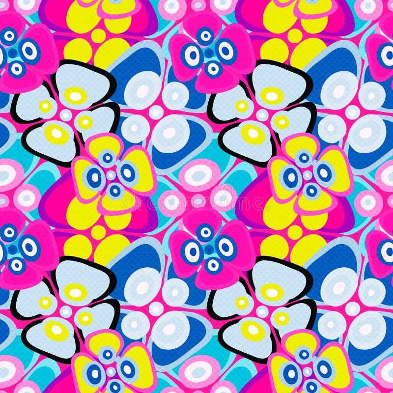 Ljust färgat abstrakt begrepp blommar på för modellvektor för svart bakgrund en sömlös illustration stock illustrationer