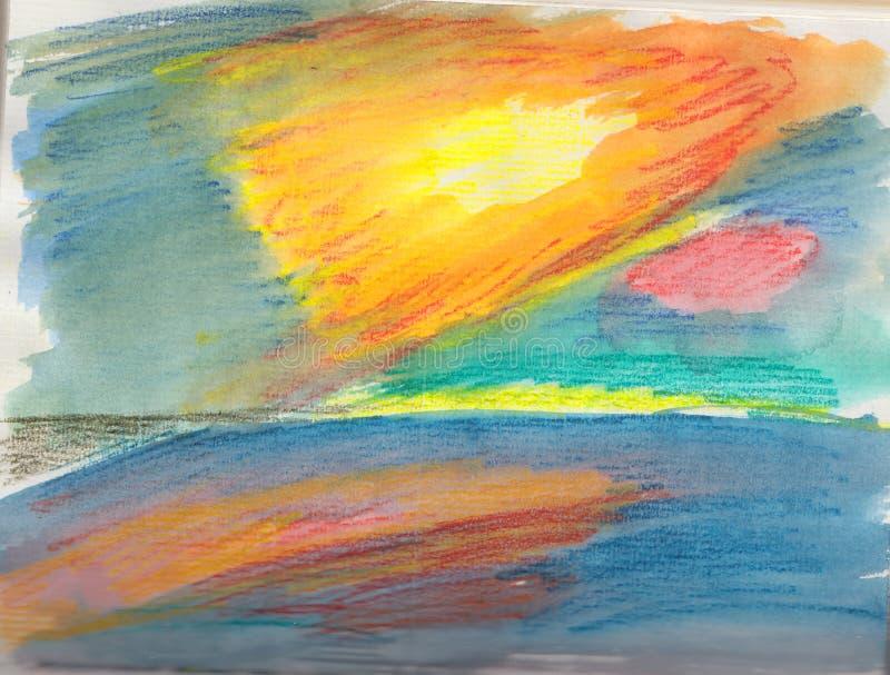 Ljust färgat skissar av en solnedgång över havet royaltyfri fotografi