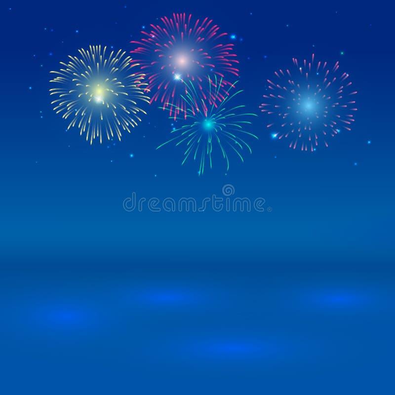 Ljust färgrika fyrverkerier på skymningbakgrund med skugga på det blåa havet stock illustrationer
