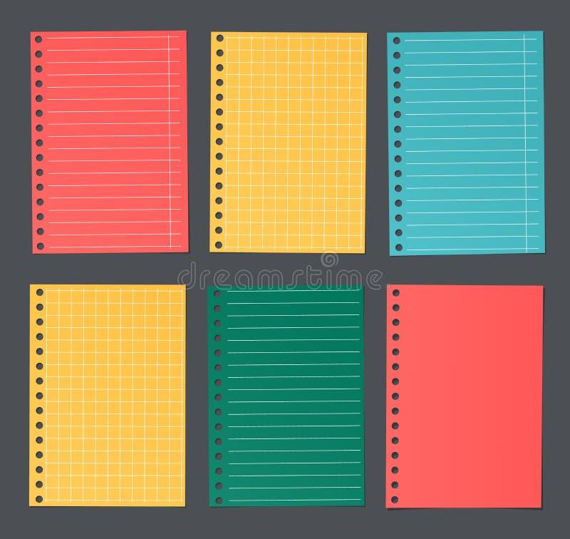 Ljust färgrikt fodrat och kvadrerat anteckningsbokpapper klibbas på mörk bakgrund stock illustrationer
