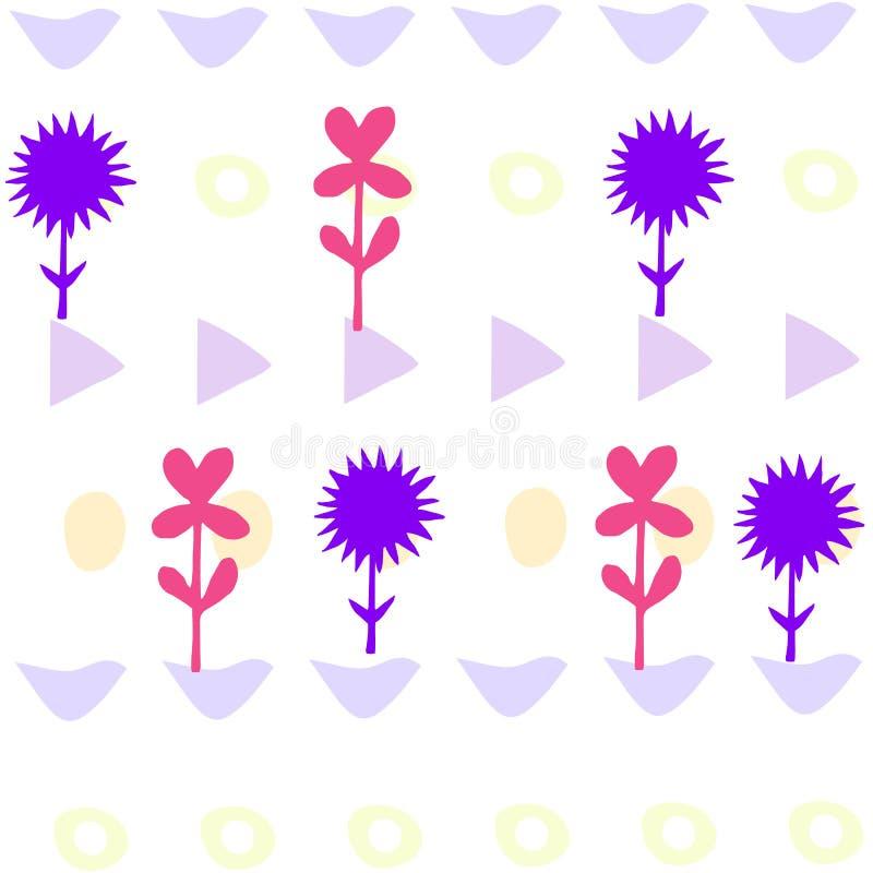 Ljust färgrikt kort med blommor Romantisk bakgrund för webbsidor som gifta sig inbjudningar, sparar datumkort stock illustrationer