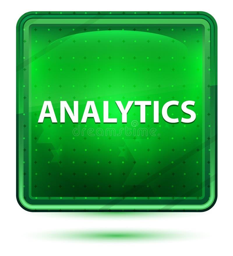 Ljust för Analyticsneon - grön fyrkantknapp stock illustrationer